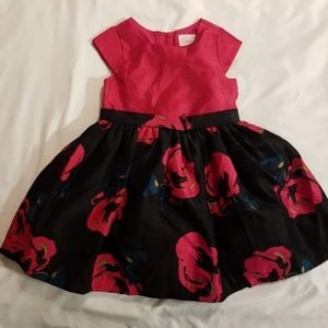 Party dress floral pink & black